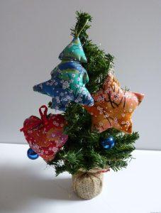 Décorations de Noël en tissu japonais