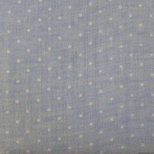 Tissu japonais en double gaze bleu ciel à pois blancs