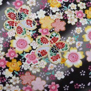 "Tissu fleurs de cerisier ""sakura"" gis clair et foncé"