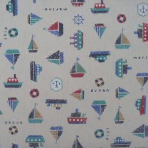 Tissu enfants bateaux crayonnés