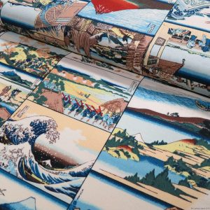 Tissu Hokusai incluant La Grande Vague de Kanagawa
