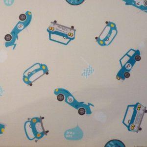 Tissu enfants voitures rétro bleues