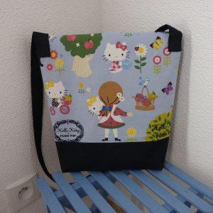Dos du sac en tissu Hello Kitty bleu