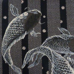 Tissu japonais noir motifs de carpes