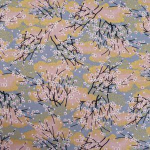 Tissu japonais gris et rose fleurs de cerisier
