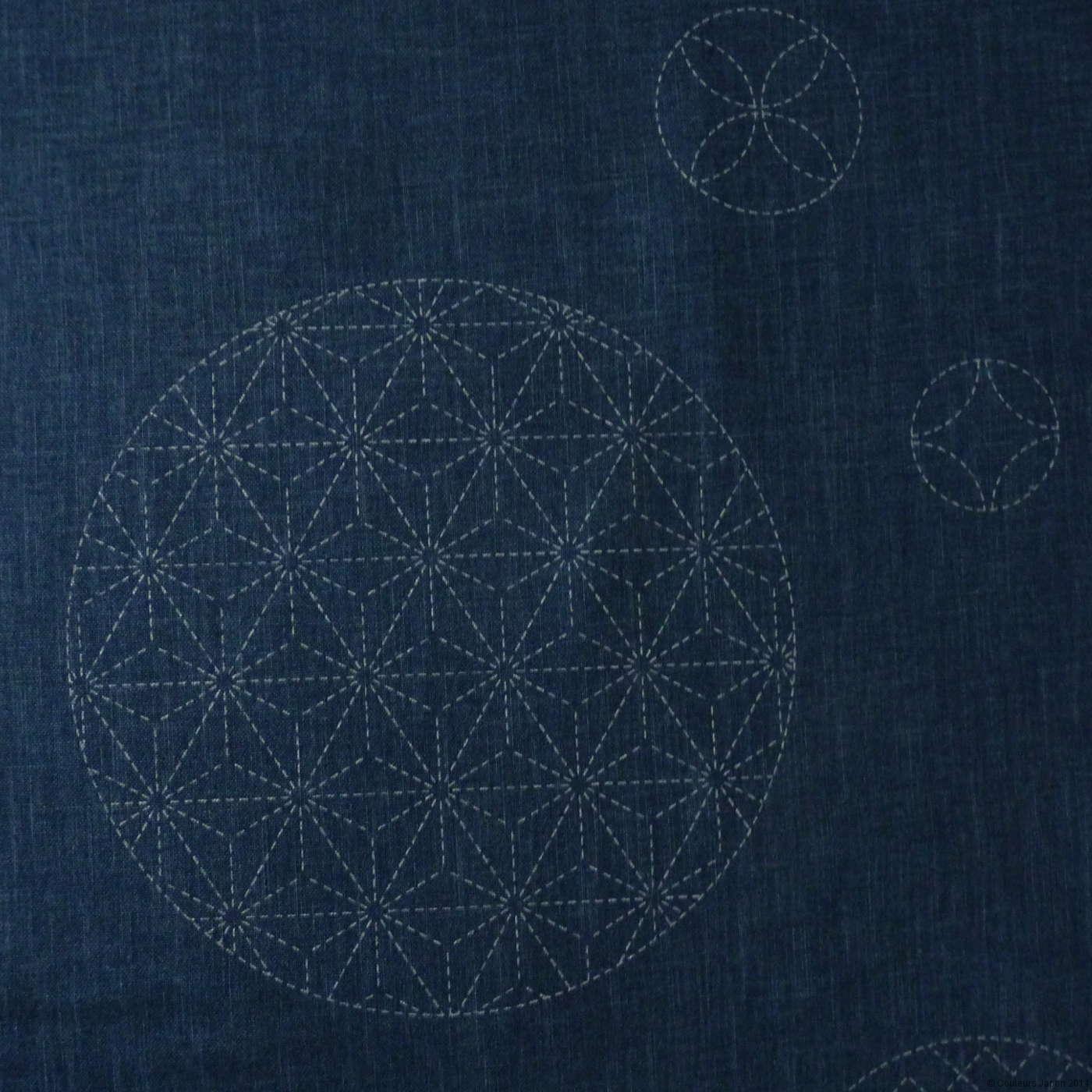 Toile sashiko pré-imprimée ronds et motifs géométriques
