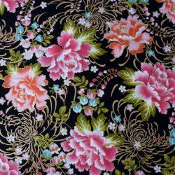 tissu noir chrysanthèmes colorées et dorées