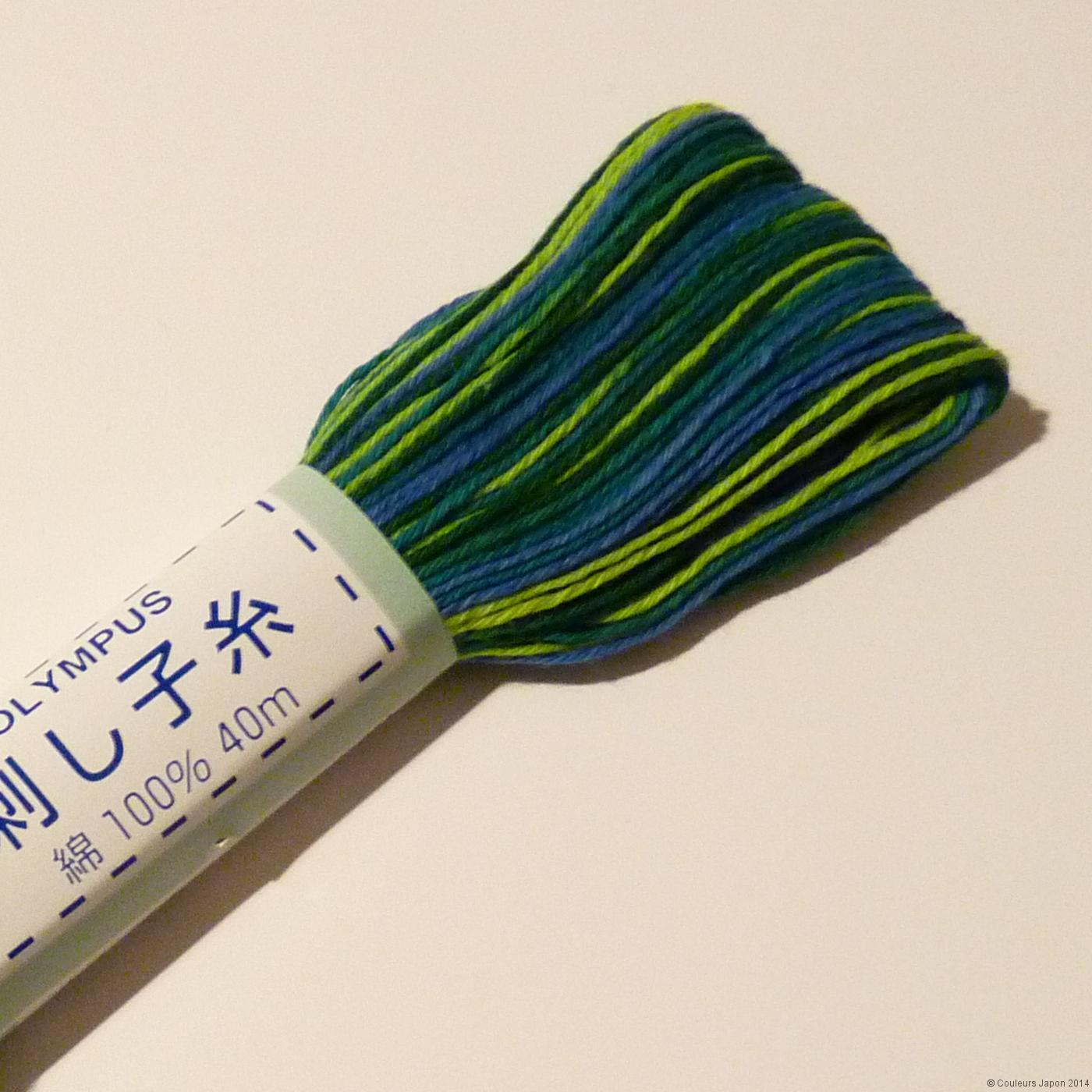 Fil sashiko mix de bleus et verts