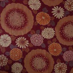 Tissu coton dobby grosses fleurs bordeaux