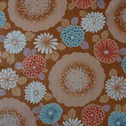 Tissu coton dobby grosses fleurs ocre