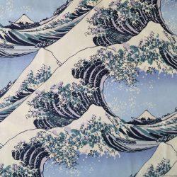 Tissu avec motifs de La Grande Vague de Kanagawa