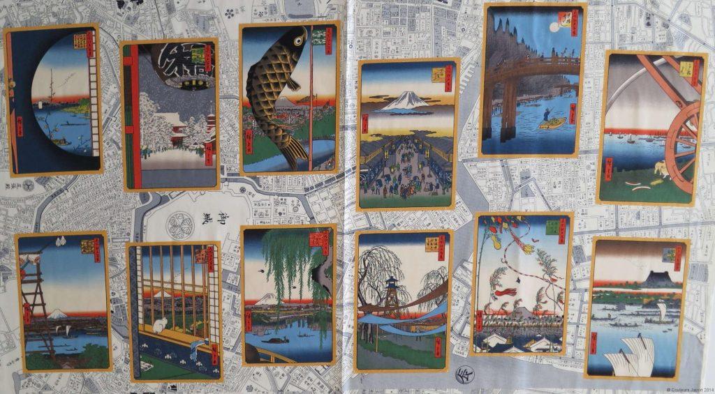 Panneau de tissu avec motifs d'ukiyo-e