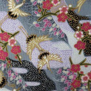 Tissu petits motifs de grues et fleurs de prunier