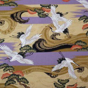 Tissu coton grands motifs de grues