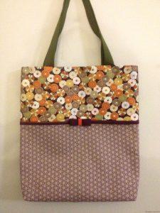 Sac cas en tissu petit asanoha violet et fleurs de chrysanthème