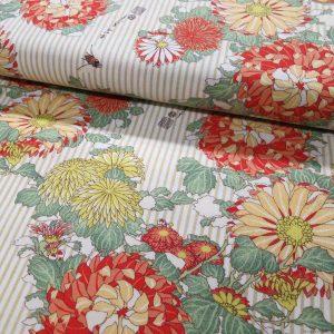 Tissu Hokusai rayures et chrysanthème