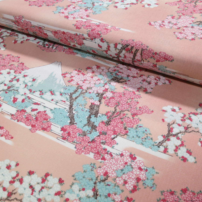 Le Mont Fuji derrière des cerisiers en fleur