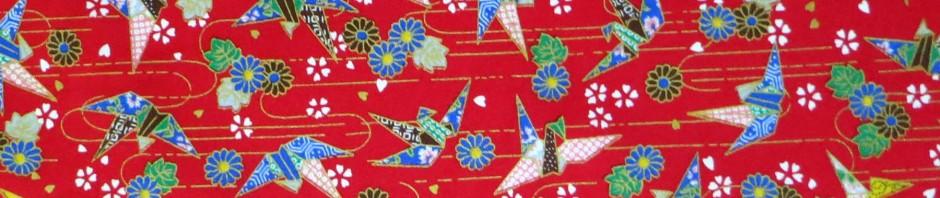 Tissu rouge grues origami