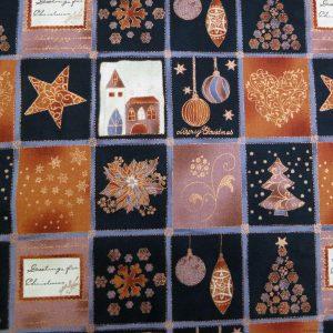 Patchwork de motifs de Noël noirs et cuivrés