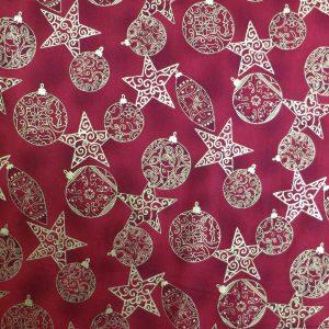 Tissu étoiles et boules de Noël