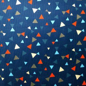 Tissu en velours côtelé bleu à motif de triangles