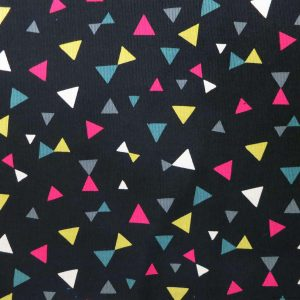 Tissu en velours côtelé noir à motifs de triangles