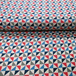 Tissu triangles bleus gris rouges et blancs