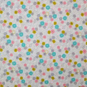 Tissu blanc cassé motifs de fleurs colorées