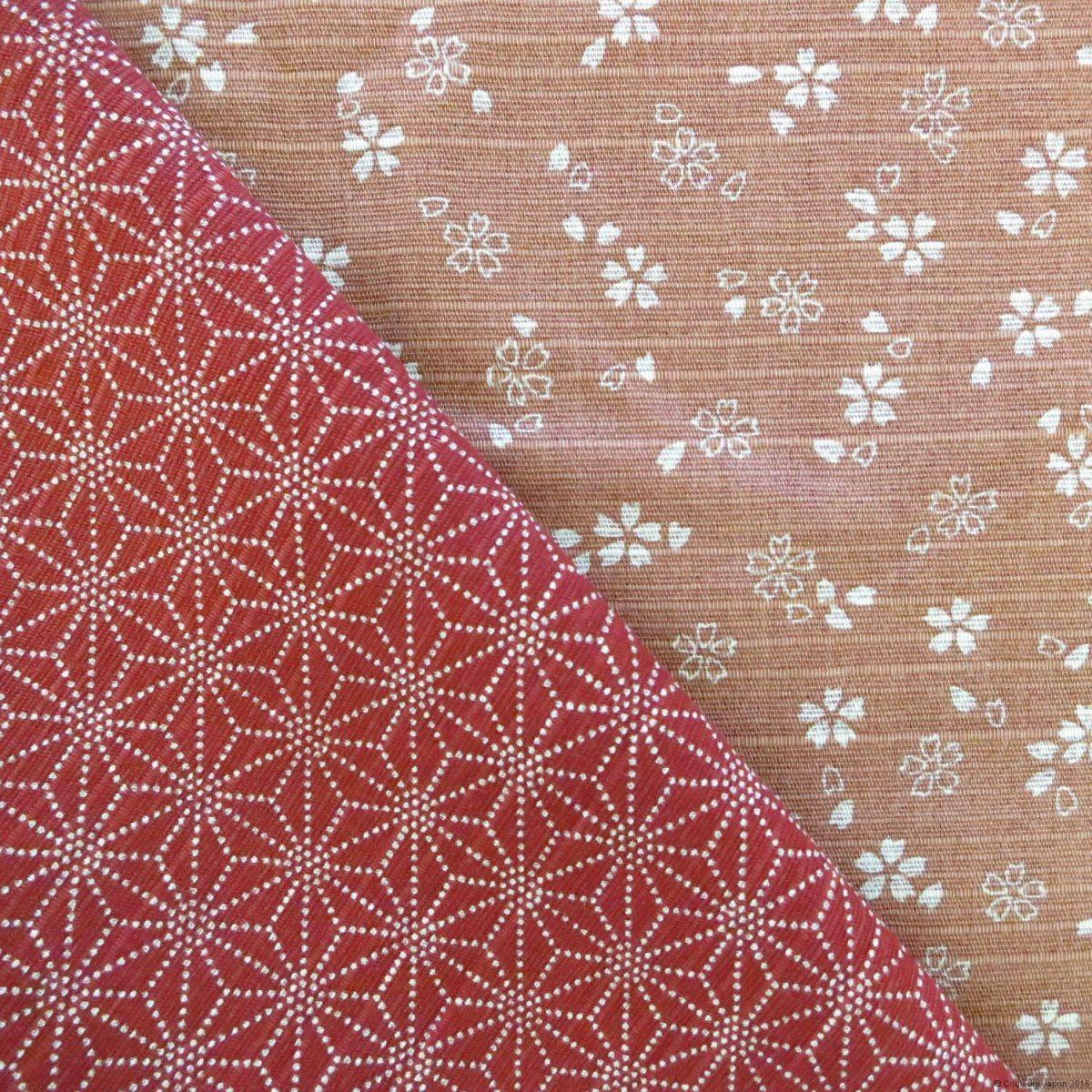 Tissu en coton tramé réversible pour furoshiki