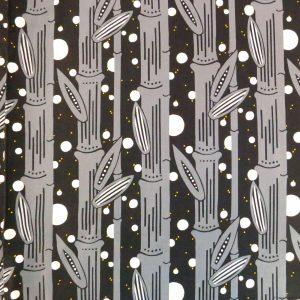 Tissu à motifs de bambous et lucioles dans la nuit
