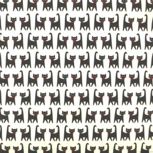 Tissu chats noirs avec nœuds papillon