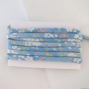 Cordon chirimen bleu ciel fleurs de cerisier