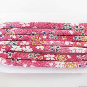 Cordon chirimen rose foncé fleurs de cerisier