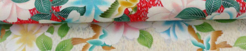 Tissus japonais grands oiseaux et fleurs