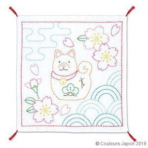 Coupon sashiko blanc motif de chien