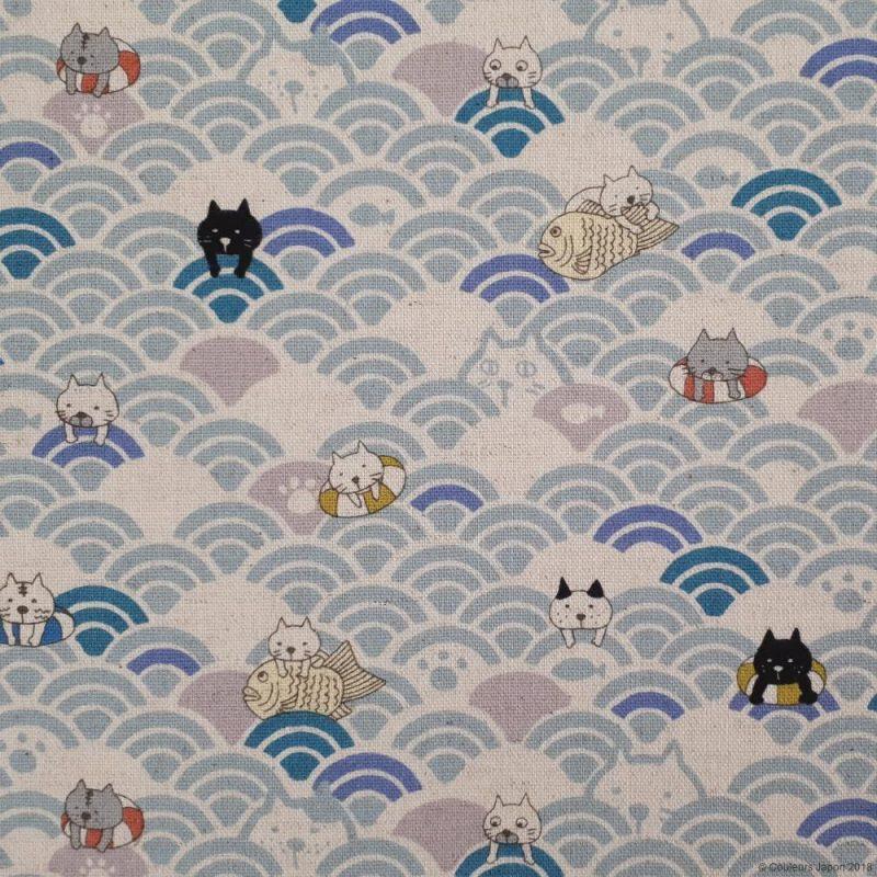 Tissu chats et vagues bleu