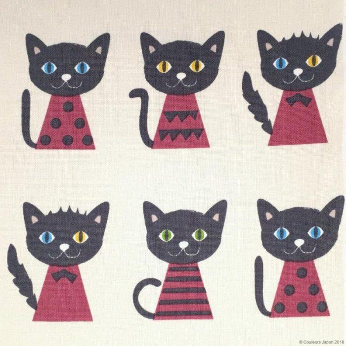 Tissu chats noirs